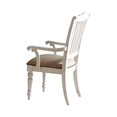 Simpson Slat Back Arm Chairs Barley and Vintage White (Set of 2)