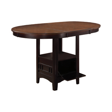 Lavon Oval Counter Height Table Light Chestnut and Espresso