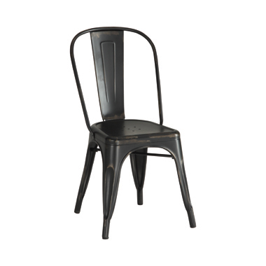 Metal Dinning Chairs Rustic Black (Set of 4)