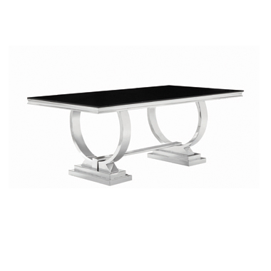 Antoine Rectangular Dining Table Chrome and Black