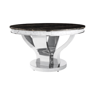 Anchorage Round Dining Table Chrome and Black