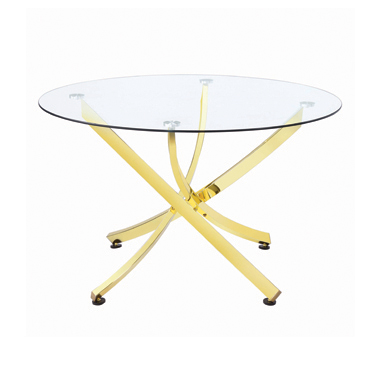 Chanel Round Dining Table Brass and Clear