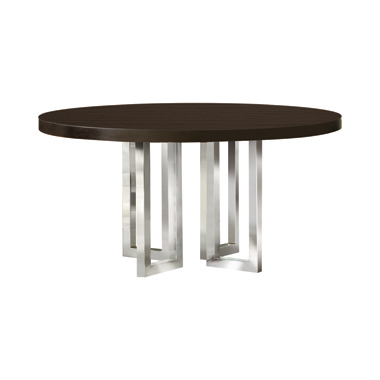 Fueyes Round Dining Table Graphite and Chrome
