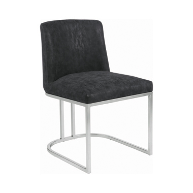 Fueyes Upholstered Dining Chair Black and Chrome