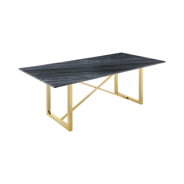 Arcade X-cross Dining Table Black and Sunny Gold