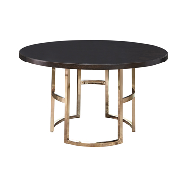 Benton Round Dining Table Dark Brown and Rose Brass
