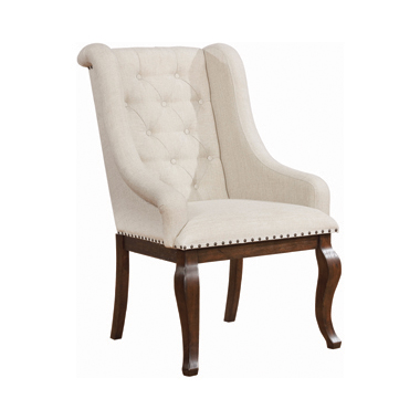 Brockway Cove Tufted Arm Chairs Cream and Antique Java (Set of 2)