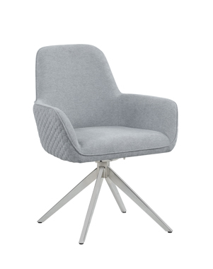Abby Flare Arm Side Chair Light Grey and Chrome