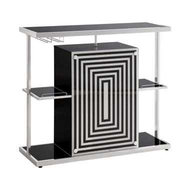 2-tier Bar Unit Glossy Black and White