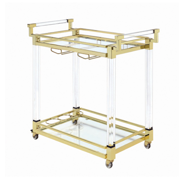 Chanel 2-tier Serving Cart Brass and Clear