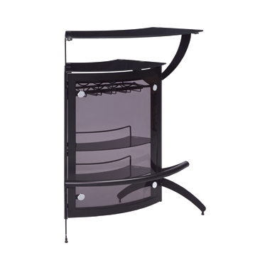 3-Bottle Wine Rack Bar Unit Smoked and Black