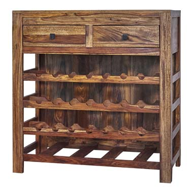 2-drawer Wine Cabinet Natural Sheesham