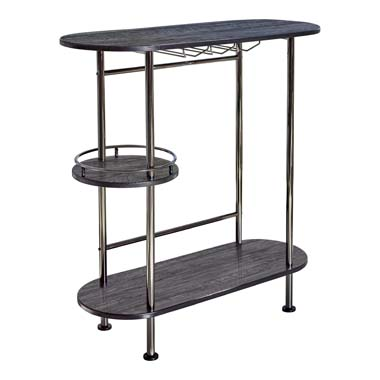 3-tier Bar Unit Black Nickel and Black Oak