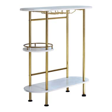 3-tier Bar Unit Matte Brass and White Oak