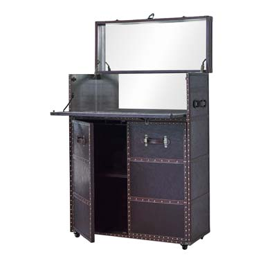 2-door Upholstered Bar Cabinet Dark Brown