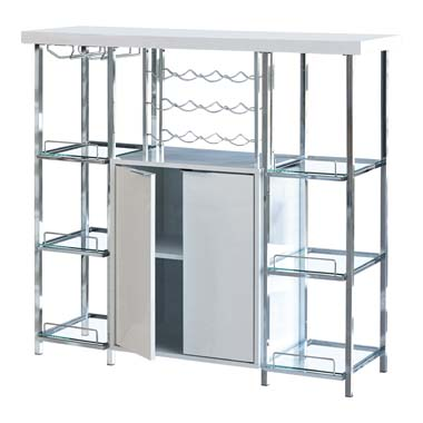 2-door Bar Cabinet with Glass Shelf High Glossy White and Chrome