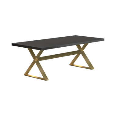 Conway X-Trestle Base Dining Table Dark Walnut and Aged Gold