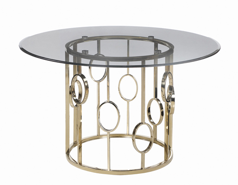 Lindsey Round Glass Top Dining Table Sunny Gold