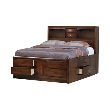 Hillary Eastern King Platform Bed with Bookcase Headboard Warm Brown