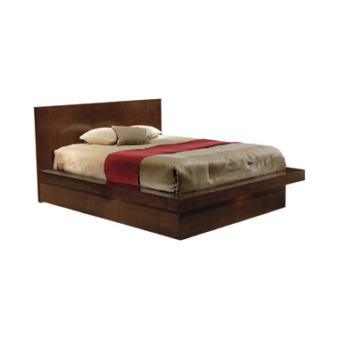 Jessica Queen Platform Bed with Rail Seating Cappuccino