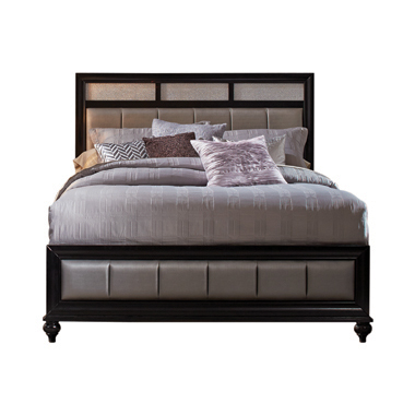 Barzini Queen Upholstered Bed Black and Grey