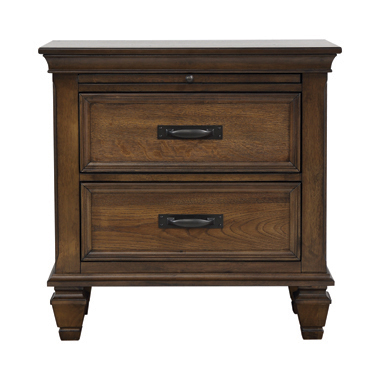 2-drawer Nightstand with Pull Out Tray Burnished Oak