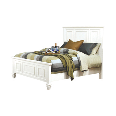 Sandy Beach Queen Panel Bed with High Headboard White