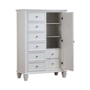 Sandy Beach 8-drawer Man's Chest Storage White