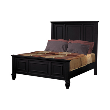 Sandy Beach California King Panel Bed with High Headboard Black