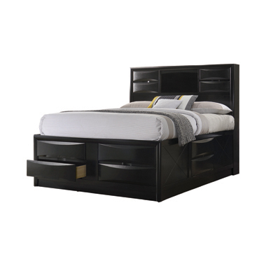 Briana Queen Platform Storage Bed Black