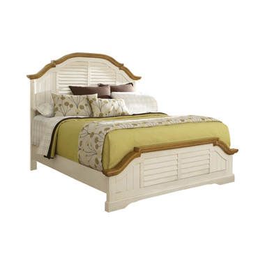 Oleta Eastern King Panel Bed with Shutter Detail Buttermilk and Brown