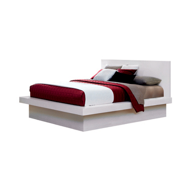 Jessica Queen Platform Bed with Rail Seating White