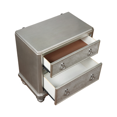 Bling Game 2-drawer Nightstand Metallic Platinum