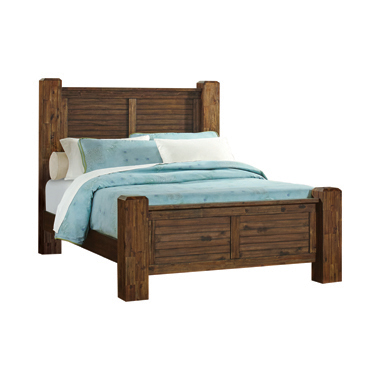 Sutter Creek Eastern King Bed with Block Posts Vintage Bourbon