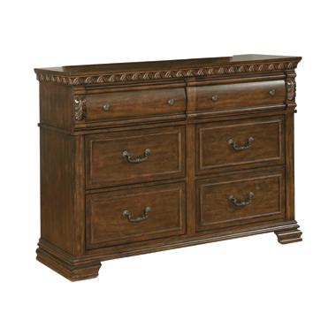Satterfield 6-drawer Dresser Warm Bourbon