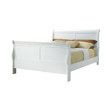 Louis Philippe Queen Sleigh Panel Bed White
