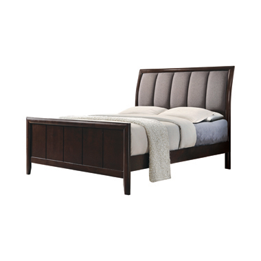 Madison Eastern King Bed with Upholstered Headboard Taupe Grey and Dark Merlot