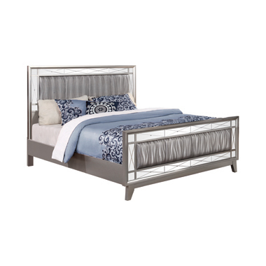 Leighton Eastern King Panel Bed with Mirrored Accents  Mercury Metallic