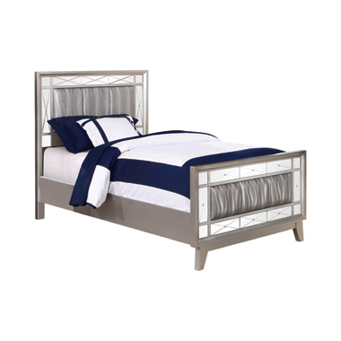Leighton Twin Panel Bed with Mirrored Accents Mercury Metallic