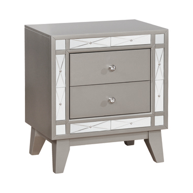 Leighton 2-drawer Nightstand Metallic Mercury