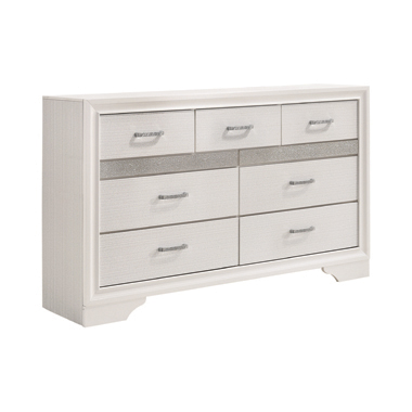 Miranda 7-drawer Dresser White and Rhinestone