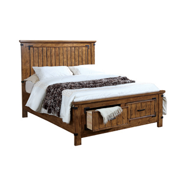 Brenner California King Storage Bed Rustic Honey