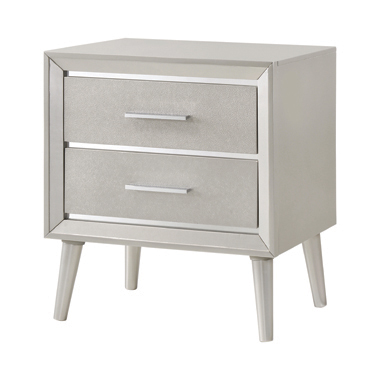 Ramon 2-drawer Nightstand Metallic Sterling