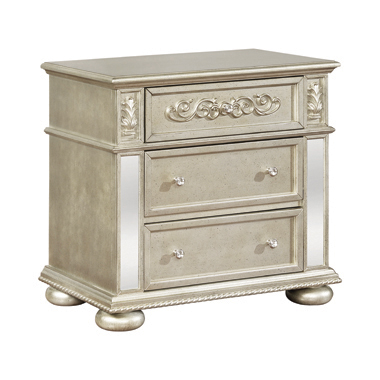Heidi 3-drawer Nightstand Metallic Platinum