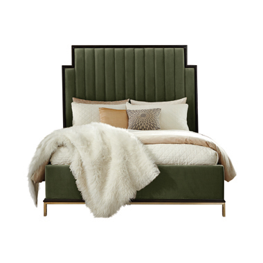 Formosa California King Upholstered Bed Dark Moss