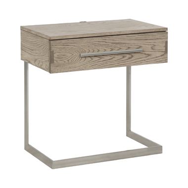Smithson 1-drawer Nightstand with Metal Base Grey Oak