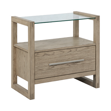 Smithson 1-drawer Nightstand with Glass Top Grey Oak