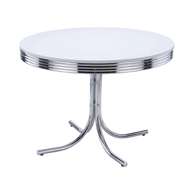 Retro Round Dining Table Glossy White and Chrome