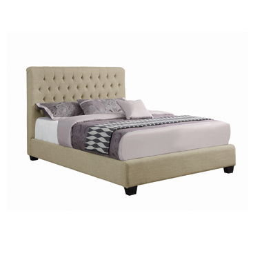 Chloe Tufted Upholstered Queen Bed Oatmeal