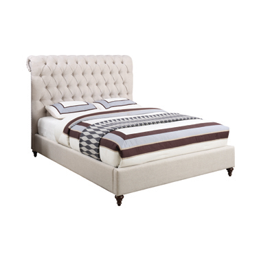 Devon Button Tufted Upholstered Queen Bed Beige